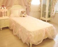 プリマベーラ シングルベッド 薔薇の彫刻 ウッドヘッド ホワイト