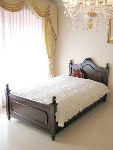 レディメイ シングルベッド リボンの彫刻 ブラウン