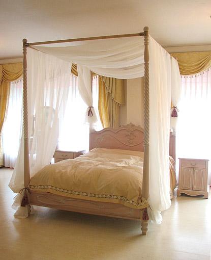 ラ・シェル 天蓋ベッド シングルサイズ ピンクベージュ