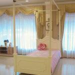 レディメイ 天蓋ベッド シングルサイズ リボンの彫刻 ホワイト色のサムネイル