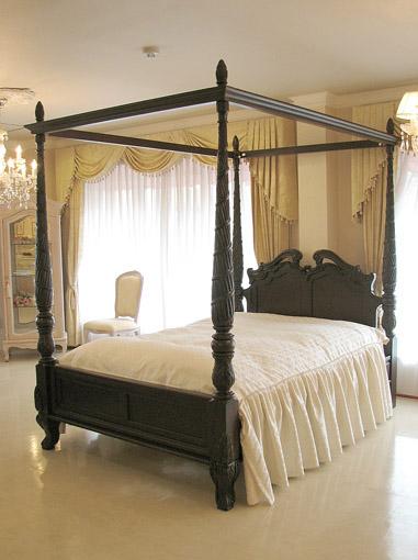 天蓋付きベッド クラシックスタイル ダブルサイズ ダークブラウン色