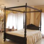 天蓋ベッド クィーンサイズ クラシックスタイルⅡ 薔薇の彫刻 ブラウン色のサムネイル