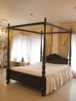天蓋ベッド クィーンサイズ クラシックスタイルⅡ 薔薇の彫刻 ブラウン色