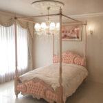 女優ベッドオードリー 天蓋 セミダブル ピンクベージュ色 ピンクモアレの張地のサムネイル