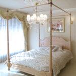 ラ・シェル 天蓋ベッド クィーンサイズ オードリーリボンの彫刻 ピンクベージュ色のサムネイル