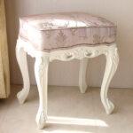 ビバリーヒルズ スツール ホワイト ピンク花かご柄のサムネイル