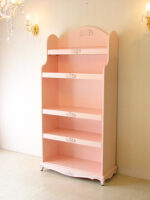 ブックシェルフ 薔薇の彫刻 バービーピンク色