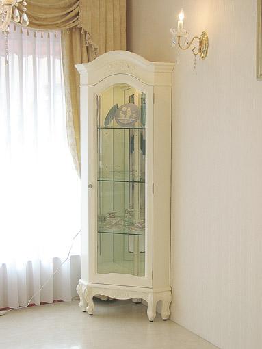 ラ・シェル コーナーショーケース  薔薇の彫刻 ホワイト色
