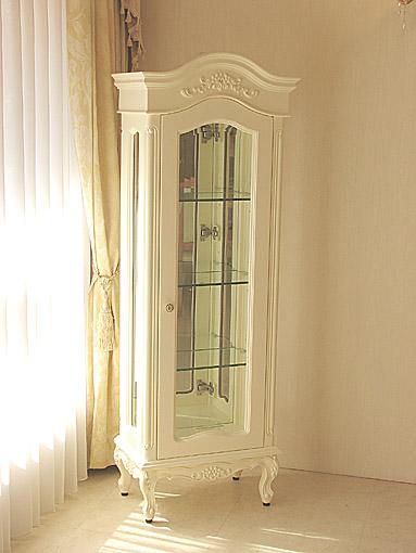 ラ・シェル ショーケース スモールサイズ お花模様の彫刻 ホワイトグロス色
