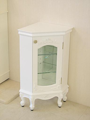 ラ・シェル コーナーショーケース スモールタイプ 薔薇の彫刻 スーパーホワイト色