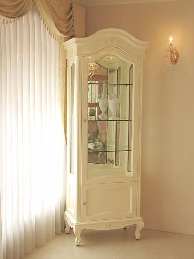 ラ・シェル ショーケース 薔薇の彫刻 高さ:201㎝ ホワイトグロス色