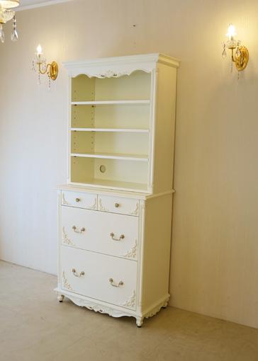 キッチンキャビネット ビバリーヒルズの彫刻 引出し お花模様の彫刻付き ホワイト色