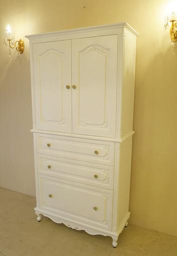 キャビネット ビバリーヒルズの彫刻 スーパーホワイト色 W90×H180