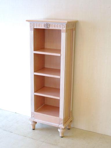 ブックシェルフ W40cm H110cm マダム・ココスタイル イニシャルの彫刻 ピンクベージュ色