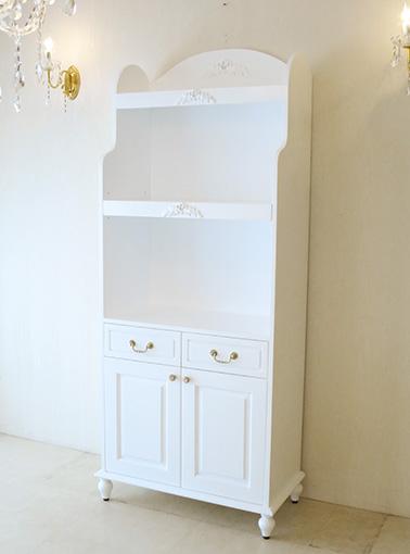 ブックシェルフ W80cm 引出し&2枚扉 プリマベーラローズの彫刻 スーパーホワイト色