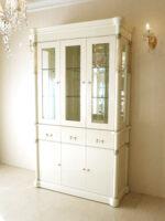 アフロディーテ キャビネット三枚扉 引出し3杯 ホワイトグロス色 オニキスナチュラル色 装飾仕上げ