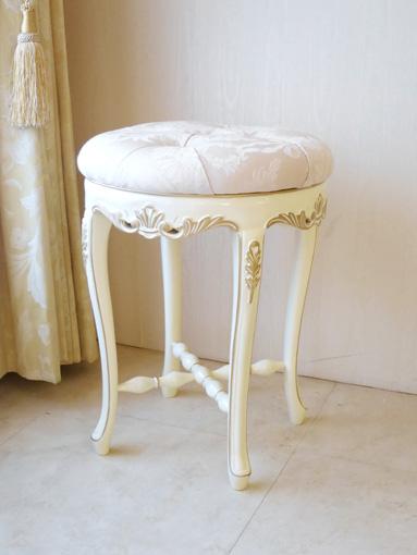 カウンタースツール H50cm ビバリーヒルズの彫刻 アンティークホワイト&ゴールドグロス色 リボンとブーケ柄オフホワイトの張地