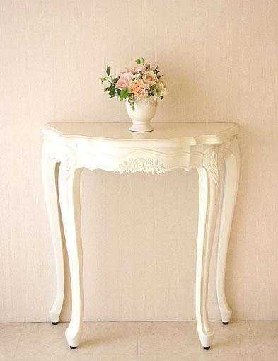コンソール ホワイト 薔薇の彫刻