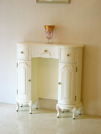 オードリー コンソール引き出し付き オードリーリボンの彫刻 ホワイト色