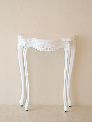 ラ・シェル コンソール 引出付 スーパーホワイト色 薔薇の彫刻 天板サイズW75㎝