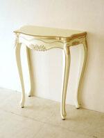 ラ・シェル コンソール W70cm 薔薇の彫刻 アンティークホワイト&ゴールド色