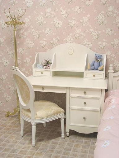 レディメイ 学習机 バレリーナの彫刻 ホワイト