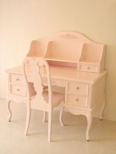 プリマベーラ 学習机 バレエシューズの彫刻 パステルピンク色