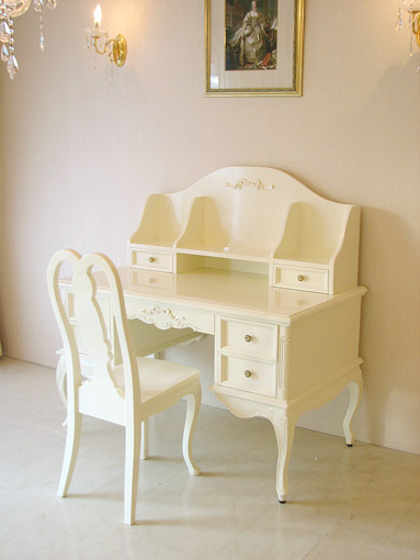 プリマベーラ 学習机 オードリーリボンの彫刻 ホワイトグロス色