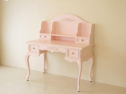 デスク プリマベーラ 左右引き出し1段 薔薇の彫刻 バービーピンク色