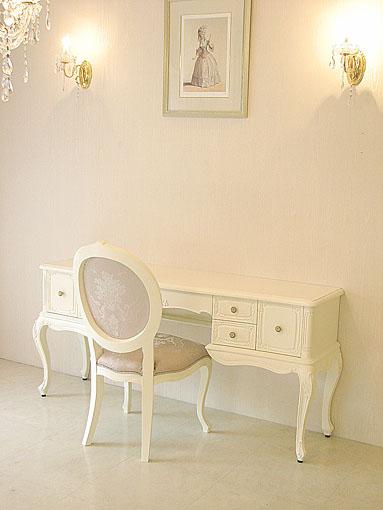 ワイドデスクW164cm 薔薇の彫刻 ホワイト色