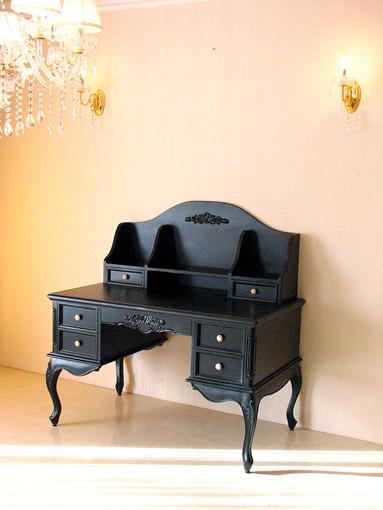 プリマヴェーラ デスク 薔薇の彫刻 マットブラック色
