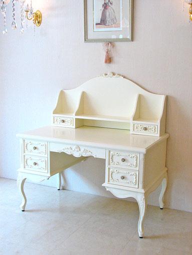 プリマヴェーラ デスク シェルの彫刻 引出モールディング ホワイト色