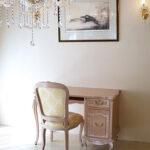 デスク 猫脚 W110×D60 薔薇と美しい彫刻 ピンクベージュ色のサムネイル