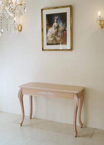 デスク W110cm プリンセスローズの彫刻 ピンクベージュ色
