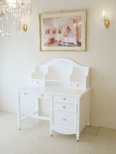 レディメイ デスク W115cm プリマベーラローズの彫刻 スーパーホワイト色