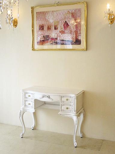 ビバリーヒルズ デスク オードリーリボンの彫刻 ホワイト&ブラックアンティーク色