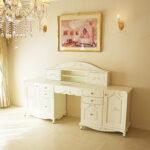 デスク W210cm オードリーリボン&薔薇の彫刻 上台 引き戸 ホワイト色のサムネイル