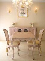 ビバリーヒルズ ダイニングテーブル W100×D75 ピンクベージュ色