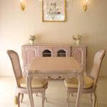 ビバリーヒルズ ダイニングテーブル W100×D75 ピンクベージュ色のサムネイル