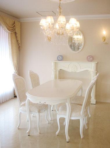 ダイニングテーブル180 リボンの彫刻 脚フラワーカービング スーパーホワイト色