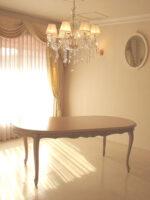 ラ・シェル ダイニングテーブル180 引出付き ピンクベージュ色 高さ:67cm