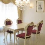 ビバリーヒルズ ダイニングテーブル 160 アンティークホワイト&ゴールド色のサムネイル