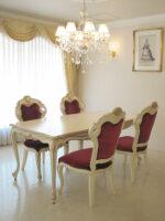 ビバリーヒルズ ダイニングテーブル 160 アンティークホワイト&ゴールド色