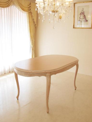 ラ・シェル ダイニングテーブル 160 オードリーリボンの彫刻