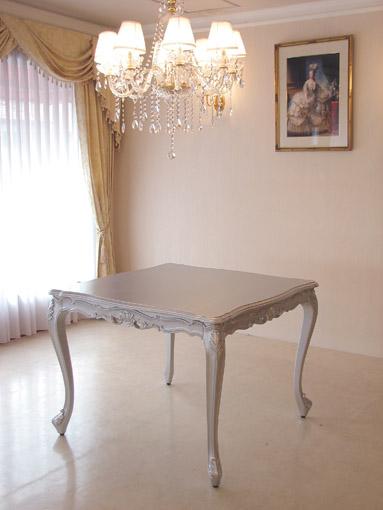 ビバリーヒルズ ダイニングテーブル W100 シルバー色