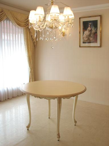 ビバリーヒルズ ラウンドテーブル110 アンティークホワイト&ゴールド色