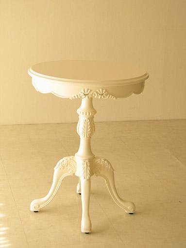 ティーテーブル Φ60㎝ リボンの彫刻 ホワイト色