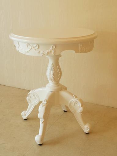 ティーテーブル クラシックリボンの彫刻 Φ48㎝ × H60cm スーパーホワイトグロス色