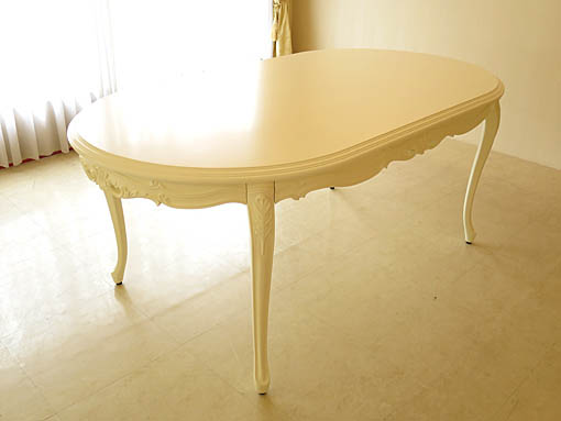 ラ・シェル ダイニングテーブル W180×D100 ビバリーヒルズの彫刻 ホワイト色