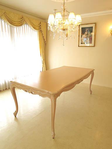 ビバリーヒルズ ダイニングテーブル W2000×D1000 ピンクベージュ色